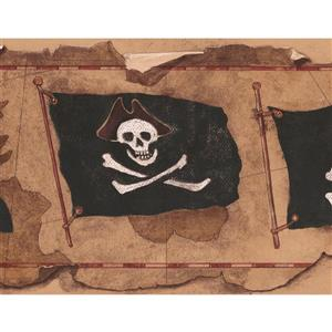 York Wallcoverings Jolly Roger Flags on Map Wallpaper Border - 15-ft x 9-in - Brown