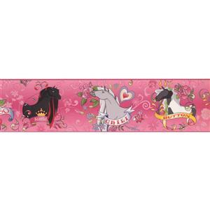 York Wallcoverings Horseland Cartoon Wallpaper Border - 15-ft x 6-in - Pink
