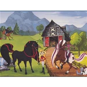 York Wallcoverings Horseland Cartoon Wallpaper Border - 15-ft x 9-in - Multicolour