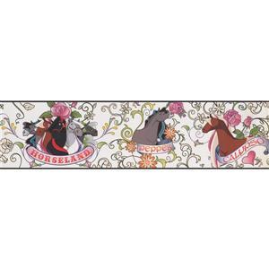 York Wallcoverings Horseland Cartoon Wallpaper Border - 15-ft x 6-in - White