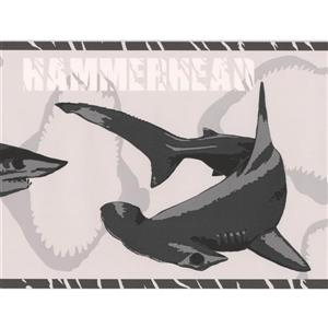York Wallcoverings Shark Species Wallpaper Border - 15-ft x 7-in - Gray