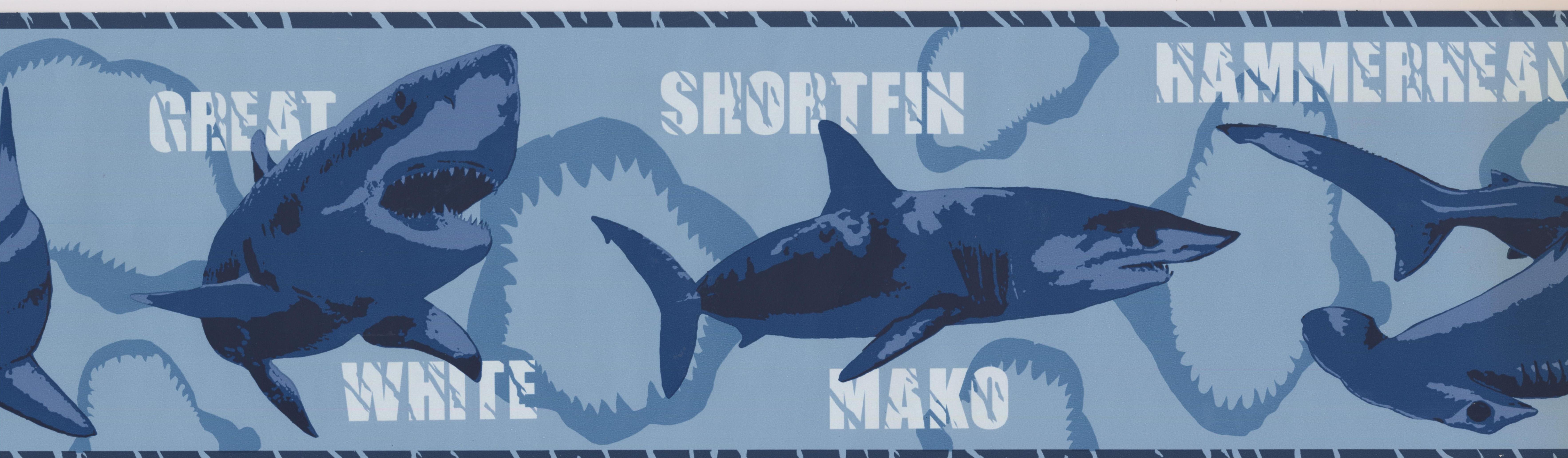 York Wallcoverings Various Shark Species Wallpaper Border 15 Ft X 7 In Blue Lowe S Canada