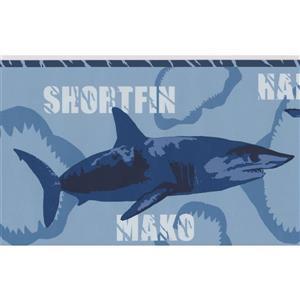 York Wallcoverings Various Shark Species Wallpaper Border - 15-ft x 7-in - Blue