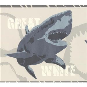 York Wallcoverings Various Shark Species Wallpaper Border - 15-ft x 7-in - Gray