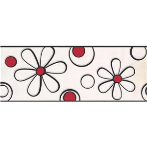 York Wallcoverings Abstract Flower Drawing Wallpaper Border - 15-ft x 9-in - Red
