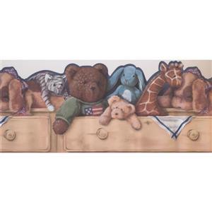 York Wallcoverings Plush Toys Wallpaper Border - 15-ft x 10-in - Beige