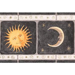 York Wallcoverings Vintage Smiling Sun Moon Wallpaper Border - 15-ft x 7-in - Black