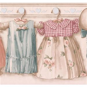 """Retro Art Dresses on Hangers Wallpaper Border - 15' x 9"""" - Beige"""