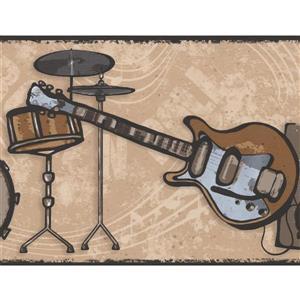 York Wallcoverings Drums Guitar Loudspeaker Wallpaper Border - 15-ft x 7-in - Beige