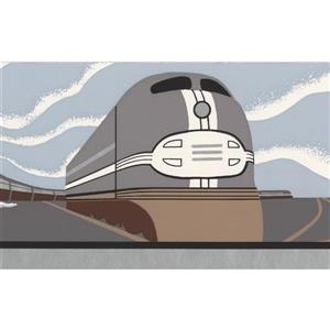 "Retro Art Choo-Choo Trains Wallpaper Border - 15' x 5.25"" - Gray"