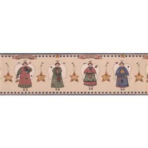 "Retro Art Angels and Stars Wallpaper Border - 15' x 6.75"" - Sepia"