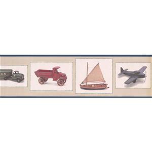 "Retro Art Truck Ship Plane Wallpaper Border - 15' x 6.75"" - Beige"