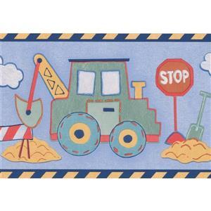 "Retro Art Tractor Excavator Wallpaper Border - 15' x 6"" - Blue"