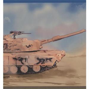 "Retro Art Tank Helicopter Hummer Wallpaper Border - 15' x 8"" - Brown"