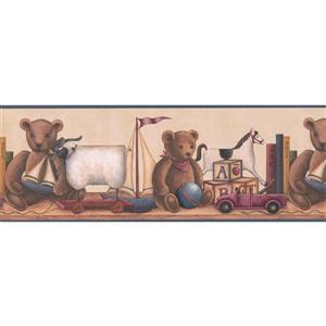 "Retro Art Teddy Bear Wallpaper Border - 15' x 8.5"" - Beige"