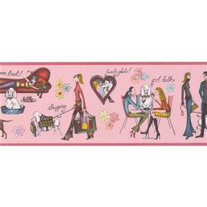 """Retro Art Young Women and Dogs Wallpaper Border - 15' x 8"""" - Pink"""