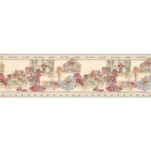 """Retro Art Dolls Tea Party Wallpaper Border - 15' x 7"""" - Beige"""