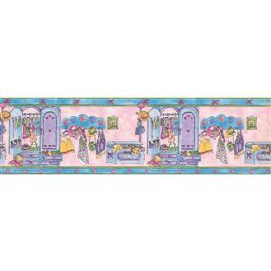 """Retro Art Dolls Dresses Wallpaper Border - 15' x 6.87"""" - Pink"""
