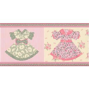 "Retro Art Baby Girl Dresses Wallpaper Border - 15' x 6.75"" - Pink"