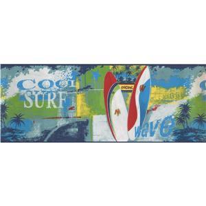 Norwall Surf Wave Wallpaper Border - 15' x 9-in- Multicolour