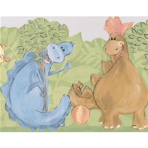 Retro Art Friendly Dinosaur Wallpaper Border - 15' x 9.25""