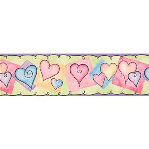 York Wallcoverings Kids Hearts Wallpaper Border - 15-ft x 7-in - Multicolour