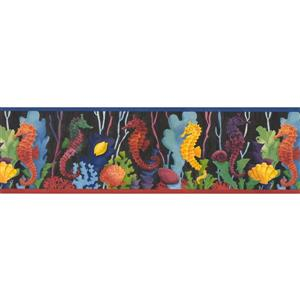 "Retro Art Seahorse Baby Wallpaper Border - 15' x 7"" - Multicolour"