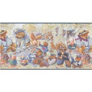 "Retro Art Bear Baby Wallpaper Border - 15' x 12"" - Multicolour"