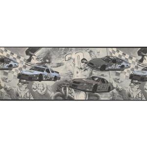 "Retro Art Kids Race Car Baby Wallpaper Border - 15' x 9"" - Multicolour"
