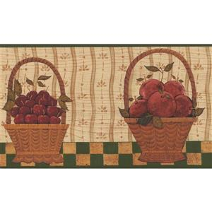 Norwall Fruit Berry Baskets Wallpaper Border - 15' x 7-in