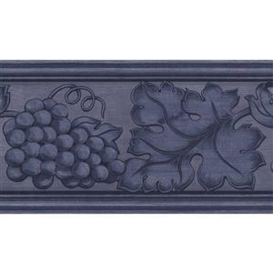 "Retro Art Grapes Leaves Wallpaper Border - 15' x 5.25"" - Purple"