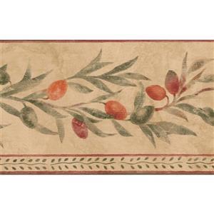 Norwall Berries on Vine Wallpaper Border - 15' x 5.25-in- Beige