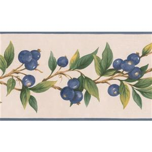 Norwall Blueberries on Vine Wallpaper Border - 15' x 5-in- Beige