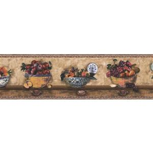 Norwall Fruits in Ornated Bowls Wallpaper Border - 15' x 7-in