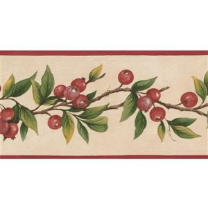 Norwall Berries on Vine Wallpaper Border - 15' x 5-in- Red