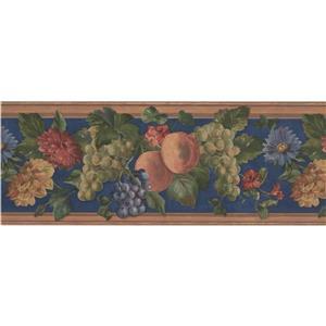 """Retro Art Bloomed flowers Wallpaper Border - 15' x 9"""" - Blue"""