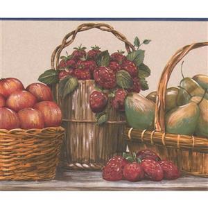 """Retro Art Berry Baskets Wallpaper Border - 15' x 9"""" - Multicolour"""