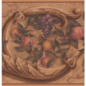 York Wallcoverings Vintage Fruits Wallpaper Border - 15-ft x 10-in - Brown