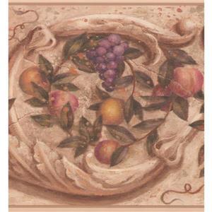 York Wallcoverings Vintage Fruits Wallpaper Border - 15-ft - Beige