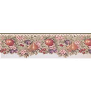 "Retro Art Apple Pear Plum Cherry Wallpaper Border - 15' x 6.5"" - Olive"