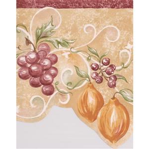 """Retro Art Berries Wallpaper Border - 15' x 9"""" - Beige"""
