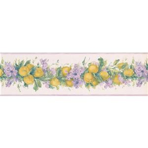 Norwall Lemons Flowers on Vine Wallpaper Border - 15' x 7-in- Lilac