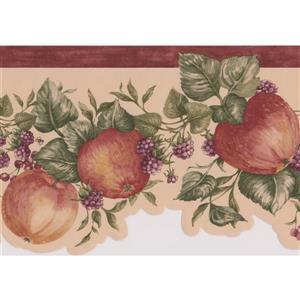 "Retro Art Apples and Raspberries Wallpaper Border - 15' x 6.5"" - Red"
