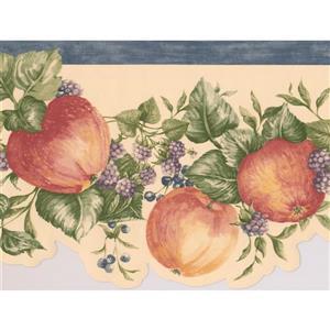 """Retro Art Raspberries on Vine Wallpaper Border - 15' x 6.5"""" - Red"""