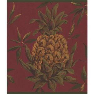 York Wallcoverings Pineapples Cherry Wallpaper Border - 15-ft x 9-in - Red