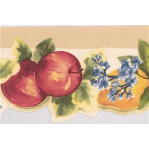 Norwall Apples and Lemons Wallpaper Border - 15' x 5.25-in- White