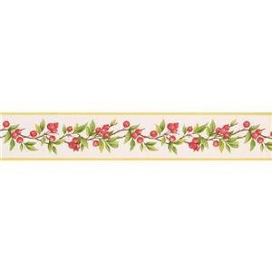 Norwall Berries on Vine Wallpaper Border - 15' x 4-in- White