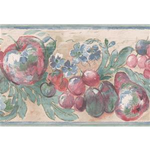 Norwall Apple and Flowers Wallpaper Border - 15' x 7-in- Brown