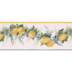 Norwall Lemons and flowers on vine Wallpaper Border - 15' - Yellow