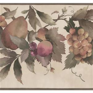 York Wallcoverings Pear and Grapes on vine Wallpaper Border - 15-ft